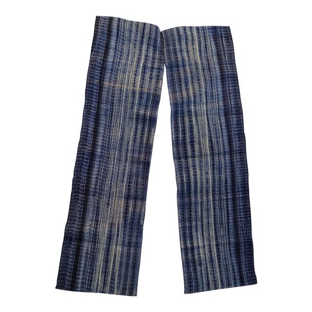 Homespun Tie Dye Indigo Doorway Drapes - A Pair - Image 1 of 5