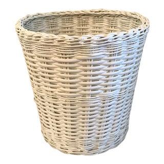 Vintage White Wicker Waste Basket For Sale