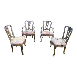 Venetian Style Painted Walnut Dining Chairs - Set of 4 For Sale