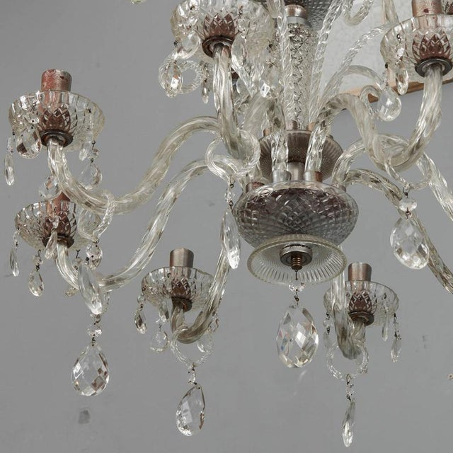 Silver Large Double Tier Murano Clear Glass Chandelier For Sale - Image 8 of 10