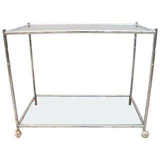 Chrome Faux Bamboo and Smokey Glass Bar Cart For Sale
