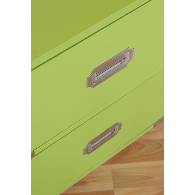 Vintage Campaign Nightstands in Lime - A Pair - Image 4 of 6