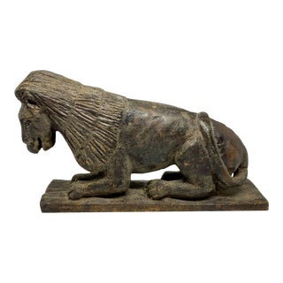Mid 19th Century Folk Art Style Carved Wooden Lion For Sale