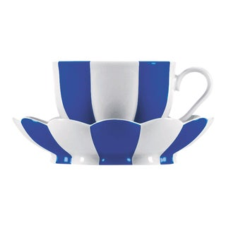 """Melon"" Mocha Cup with Saucer by Josef Hoffmann Blue For Sale"