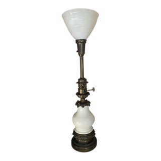 Hollywood Regency Bronze and Porcelain Lamp by Stiffel For Sale