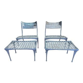Sol Y Luna Aluminum Outdoor Lounge Chairs + Ottomans by Brown Jordan For Sale