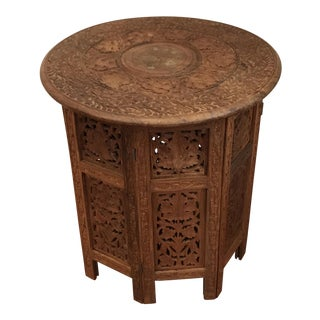 Moroccan Brass Inlaid Carved Folding End Table For Sale