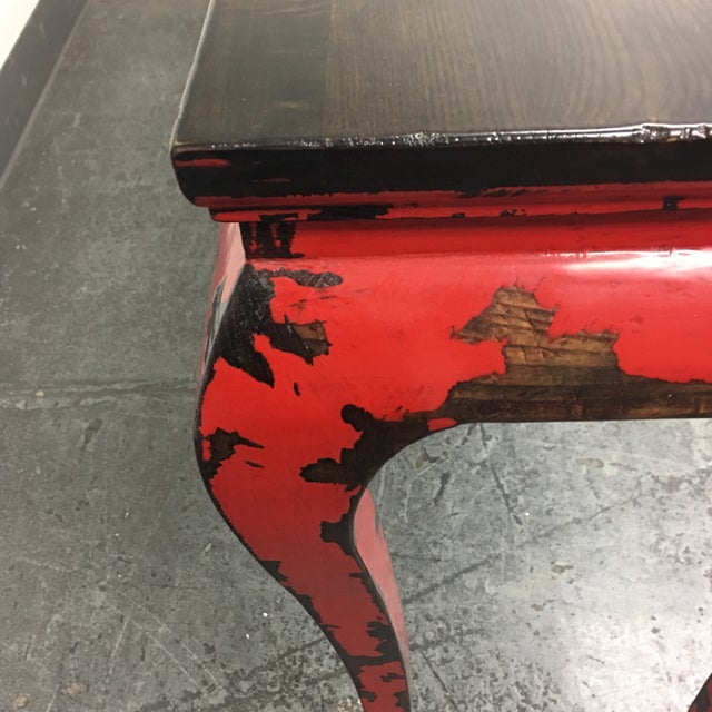 Gumps of San Francisco Asian Console Table with Red Antiqued Finish - Image 8 of 9