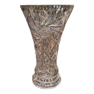 Midcentury Clear Cut Crystal Trumpet Vase With Geometric and Sun Motifs For Sale