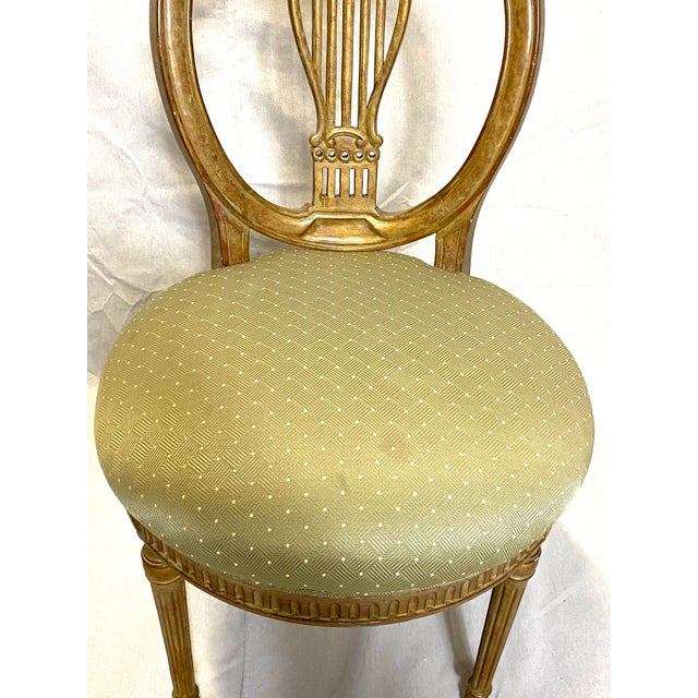 French Rare Antique Set of 6 French Dining Chairs Balloon Back Silk Cushions Fabulous For Sale - Image 3 of 11