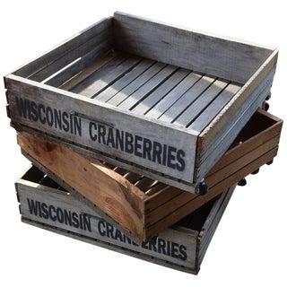 Trio of Wood Wisconsin Cranberry Storage Planter Wheeled Crates