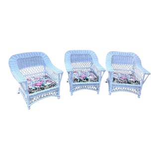 Bar Harbor Style Wicker Arm Chairs-Set of 3 For Sale