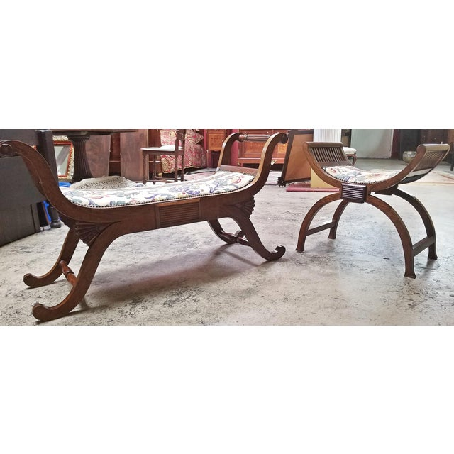 Lovely pair of Empire Style Bedroom Scroll-end Seats or benches. One in the form of a Bench to sit at the foot of a bed...