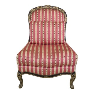 EJ Victor French Louis XV Style Upholstered Slipper Chair For Sale