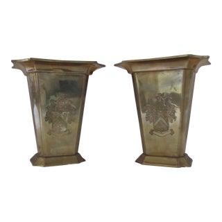 Vintage Brass Crest Vases-A Pair For Sale