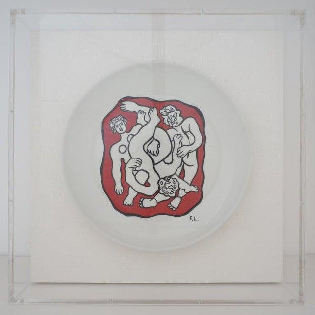 Vintage Framed Fernand Leger Porcelain Plates - a Set of 4 Different in Lucite Shadowbox Frames For Sale - Image 10 of 13