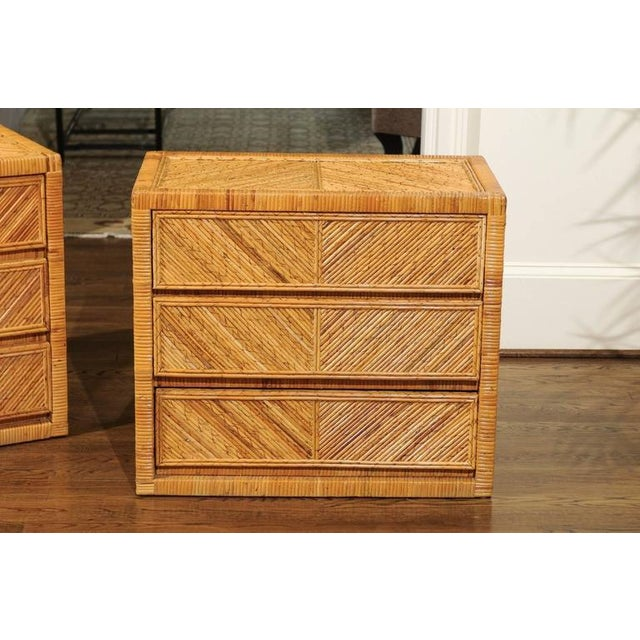 Incredible Pair of Restored Vintage Cane and Reed Bamboo Small Chests For Sale - Image 4 of 11
