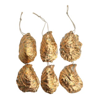 Surf Gilded Oyster Shell Ornaments, Set of 6 For Sale