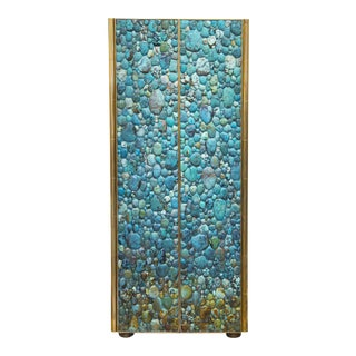 Kam Tin - Turquoise Tall Cabinet Made of Real Turquoise Cabochons, France,2014 For Sale