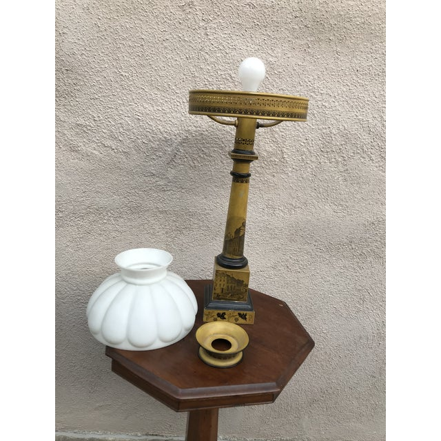 Antique Victorian Mustard Color Column Lamp With Glass Shade For Sale - Image 4 of 10