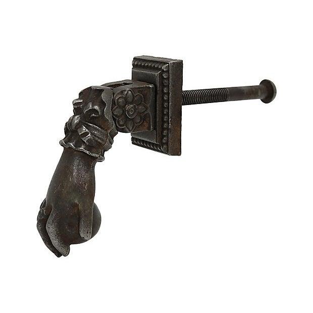 Cottage Antique Bronze Paris Hand Door Knocker For Sale - Image 3 of 7