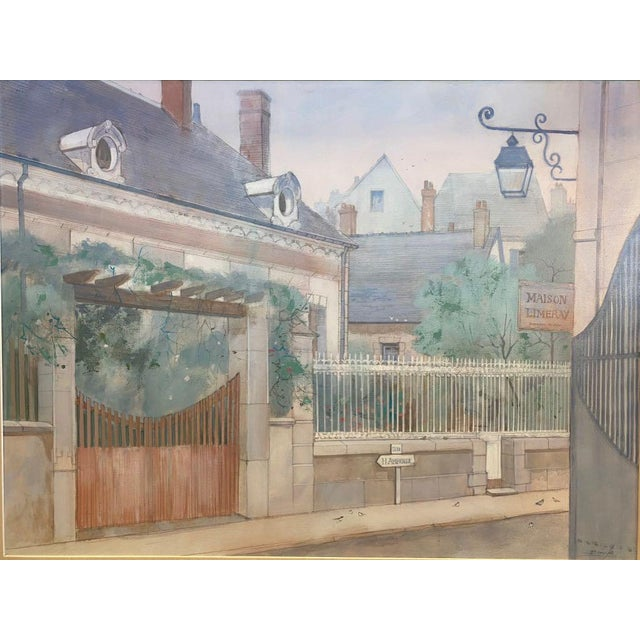 William Benecke (USA: 1934-2001) Road to Amboise (Loire Valley) Oil on Canvas Very large and pretty painting of a...