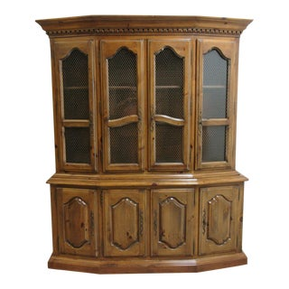 Ethan Allen Country French Legacy Carved Break Front China Cabinet Hutch Curio For Sale