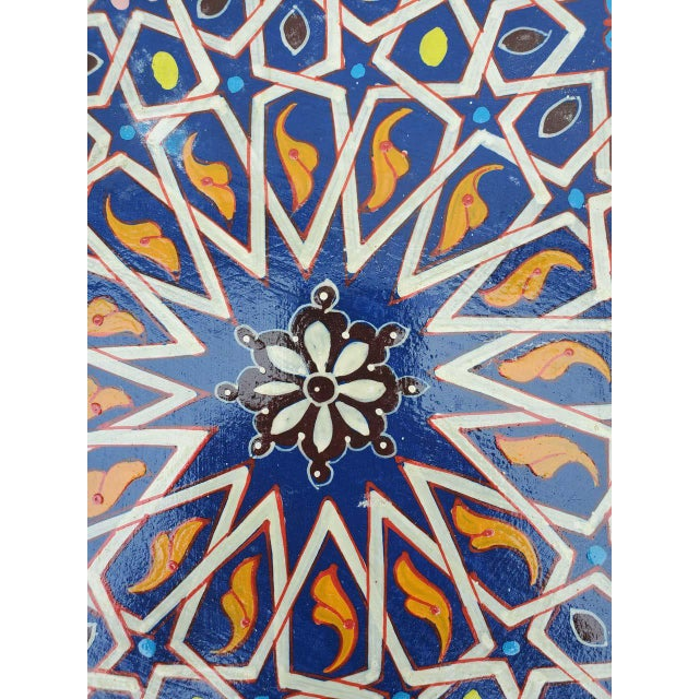 2010s Moroccan Sm Ceuta 2 Painted and Carved Star Table, Multi-Color For Sale - Image 5 of 8