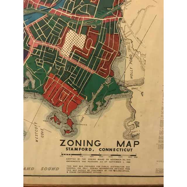 Vintage Stamford Connecticut Framed Zoning Map For Sale In New York - Image 6 of 8