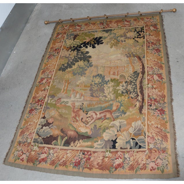 Fine Antique European Tapestry Depicting a Country Scene With Dogs For Sale - Image 13 of 13