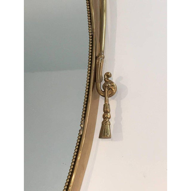 Neoclassical Brass Oval Mirror With a Ribbon Decoration - Image 8 of 11