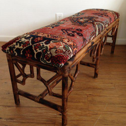Wood Vintage Boho Style Rattan & Persian Rug Bench For Sale - Image 7 of 10