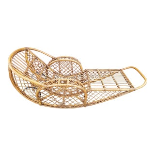 1940s Split Reed & Rattan Rocking Chaise For Sale