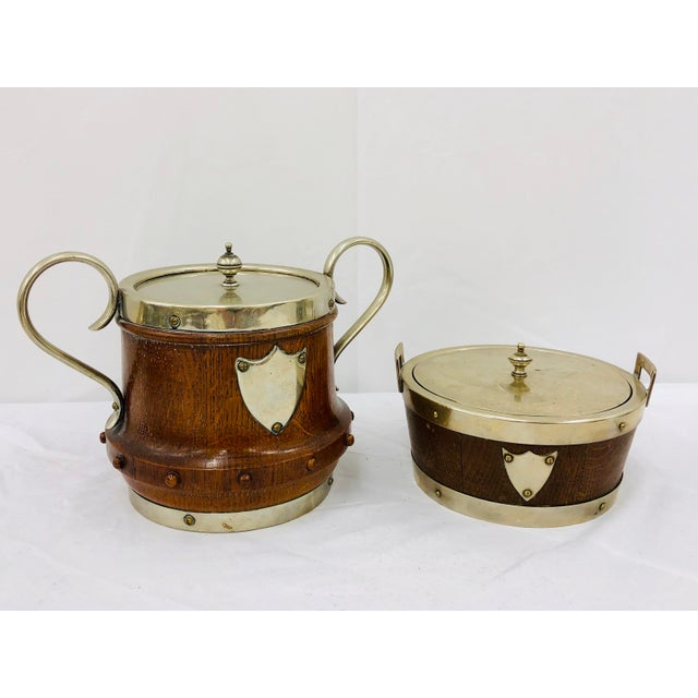Antique English Oak & Silver Serving Containers - Set of 2 For Sale - Image 4 of 13