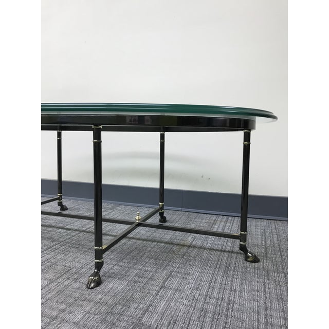 1980s Ebonized Brass & Brass Oval Beveled Glass La Barge Hooved Coffee Table For Sale - Image 5 of 11