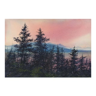 Mountain Forest Sunrise Watercolor Painting For Sale