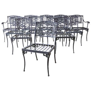 Set of Twelve Brown Jordan Neoclassical Style Garden Chairs For Sale