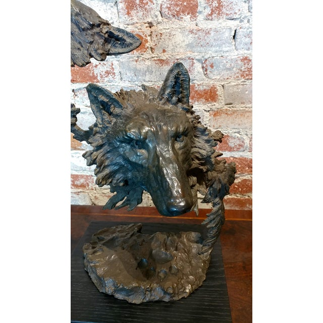 "Mark Hopkins -Cry of the Wolves - Southwestern Bronze Sculpture Signed & numbered size 11 x 9 x 20"" Biography A creator of..."