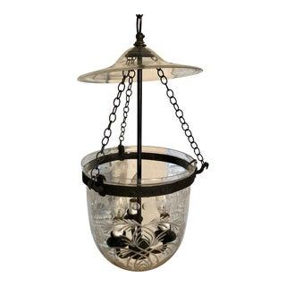 1990s Hundi Glass 3 Lights Hand Blown Etched Glass Foliage Bell Jar Lantern Chandelier For Sale