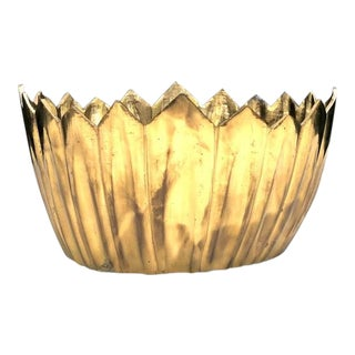 Brass Zigzag-Rim Planter For Sale