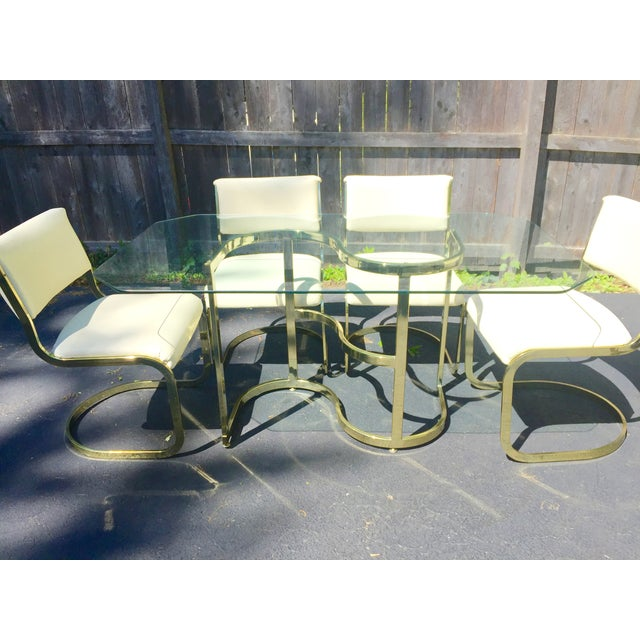 Brass & Glass Dining Set - Image 4 of 10