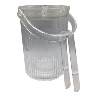 Large Vintage Lucite Ice Bucket and Ice Tongs With Removable Insert For Sale
