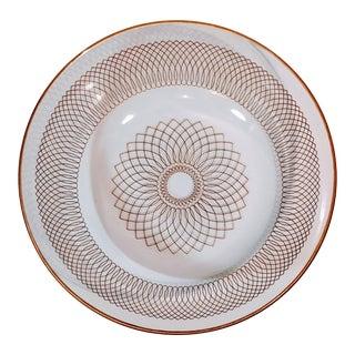 Vintage Spiral Detail Gold Glass Dish Plate For Sale