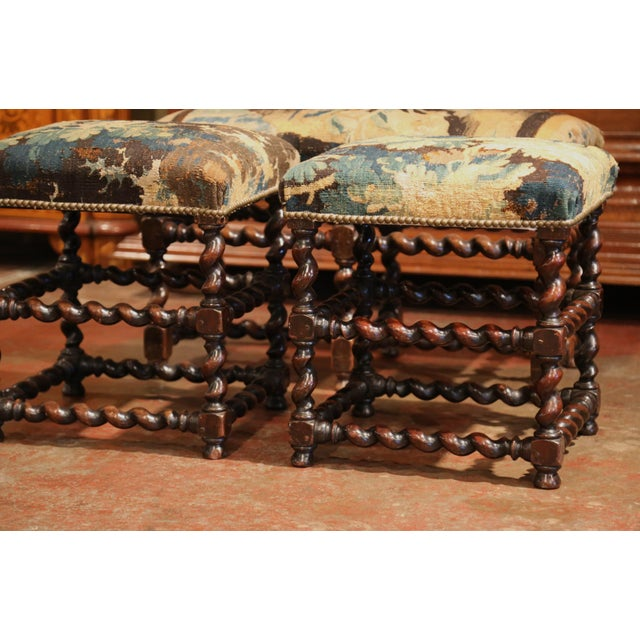 French Set of 19th Century French Carved Walnut Stools and Bench With Aubusson Tapestry For Sale - Image 3 of 9