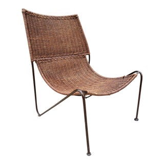 Mid Century Frederic Weinberg Wrought Iron & Rattan Lounge Chair For Sale