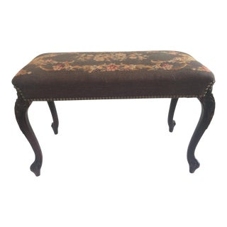 1930s Vintage French Style Brown Bench For Sale