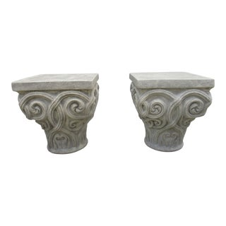 Corinthian Capital Side Tables Attributed to Kreiss -A Pair For Sale