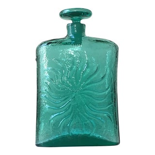 Blenko Aqua Handblown Sunburst Decanter