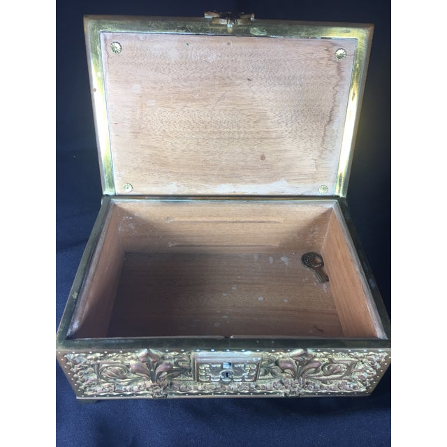 Brass German Art Nouveau Bronze Box With Original Key For Sale - Image 7 of 10