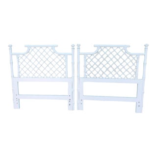 Ficks Reed Vintage Palm Beach Regency Twin Size White Rattan Faux Bamboo Headboards - a Pair
